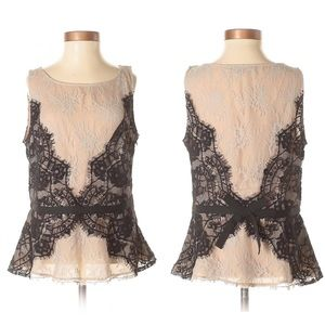 NWT LOFT Nude and Black Lace Sleeveless Blouse